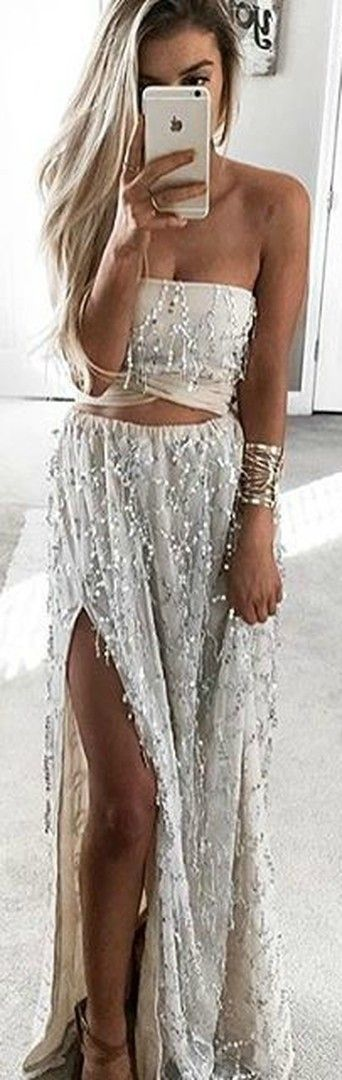 Embellished silk Two Piece Gown - Nearly Naked - SISTERS THE LABEL silver sequin crop top and skirt set formal, prom, wedding, honeymoon, ball, event, 21st birthday outfit