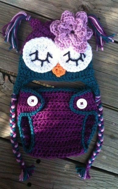 So fricken cute!    Newborn Baby Girl Sleepy Crochet OWL Purple n Teal Diaper Cover -n- Beanie Hat Set -- Cute Photo Prop. $30.00, via Etsy.