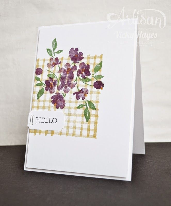 Creating a gingham background is so easy with the line stamp in the photopolymer Painted Petals set! - Vicky Hayes