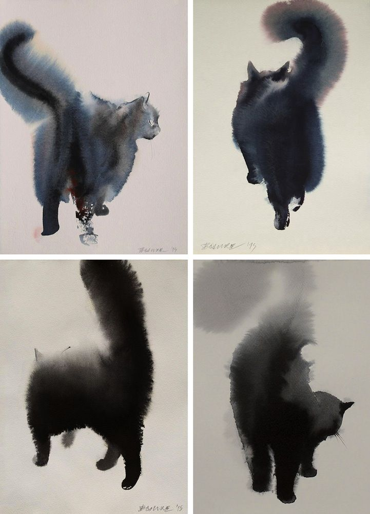 Endre Penovc captures the aloofness, mystique and charm of fluffy cats in his black-and-white, watercolor and ink paintings. The artist, based in Topola, S