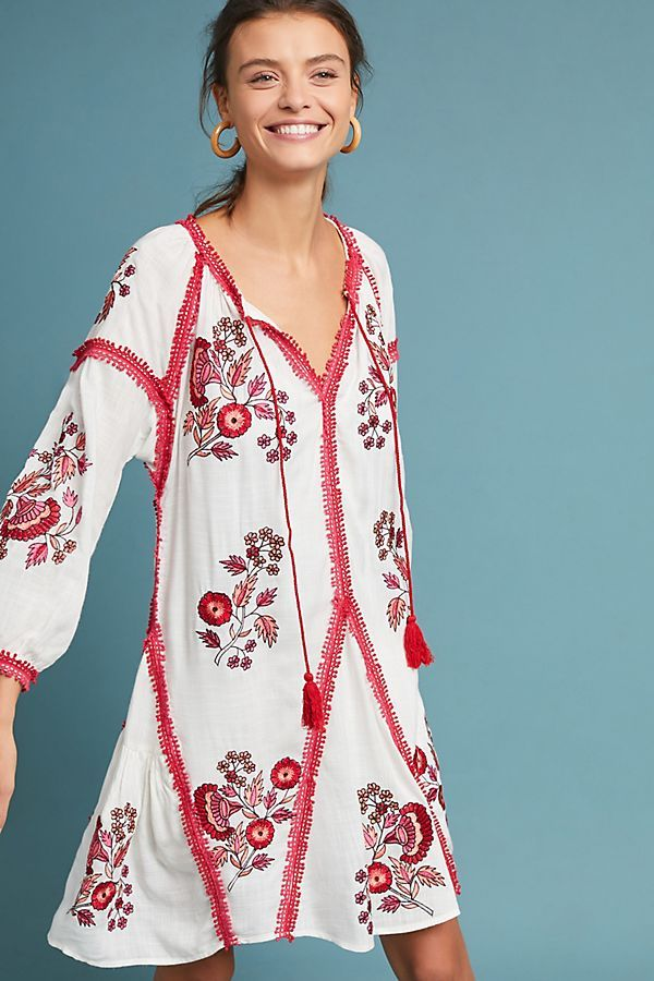 Slide View: 1: Hadley Embroidered Tunic Dress