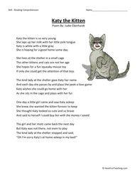 Worksheet 3rd Grade Reading Comprehension Poems 66 best third grade images on pinterest comprehension questions katy the kitten reading worksheet
