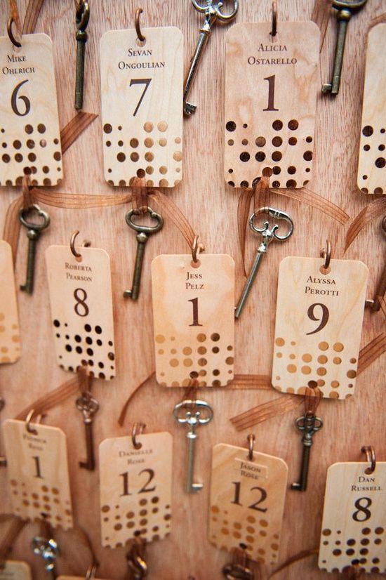 Metallic Polka Dot Escort Cards with keys