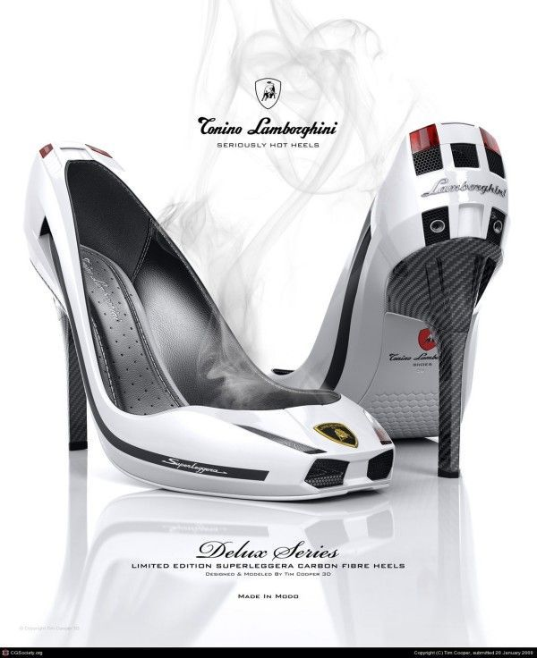 Tim Cooper, 3D Digital Design advert for car styled shoes.