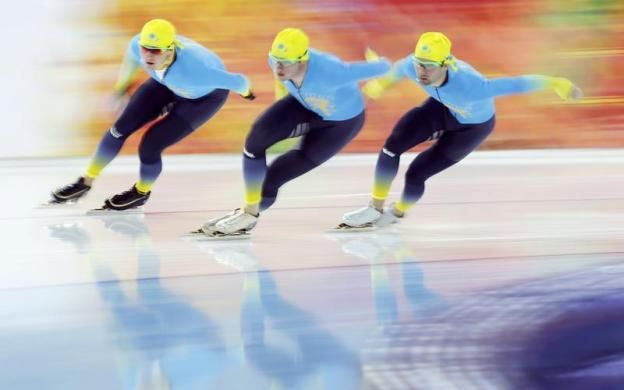 Members of Kazakhstan's speedskating team practice at the Adler Arena ahead of the 2014 Sochi Winter Olympics, February 7, 2014. REUTERS/Is...