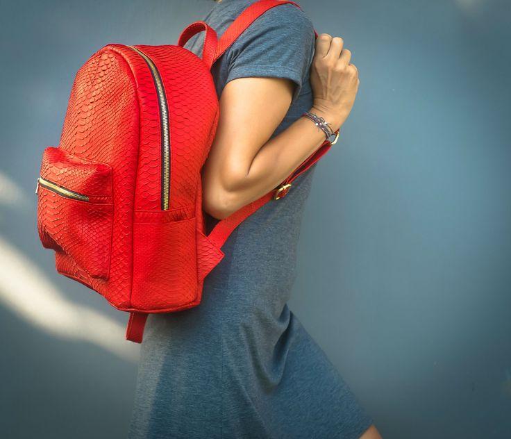 Python leather backpack. Red leather Backpack. Designer handmade leather handbag. Handmade Big leather backpack.  Black Leather Backpack. by StudioANTU on Etsy