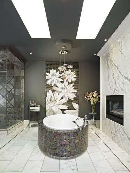 Beautiful spa bathroom with fireplace.