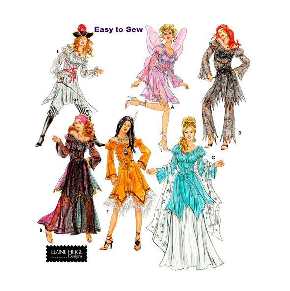 WOMENS SEXY FANTASY Dress-Up Costumes Pirate Fairy Gypsy Indian Sheer Fabric Costumes UNCuT Simplicity 5363 0515 Womens Costume Patterns by DesignRewindFashions on Etsy