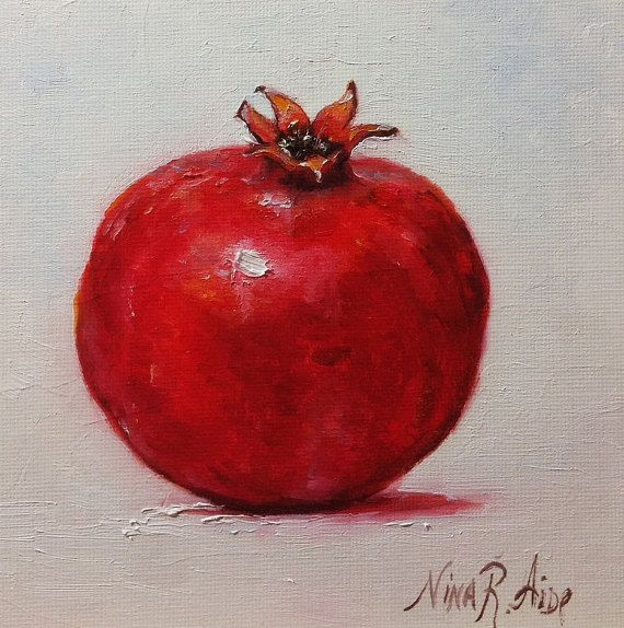 Pomegranate Original Oil Painting by Nina by NinaRAideStudio