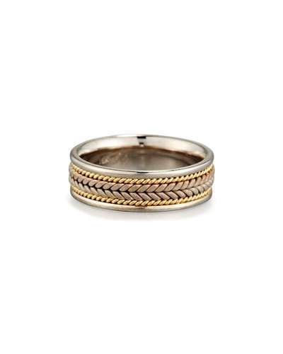 Eli Gents Center Weave Wedding Band Ring in 18K Gold & Platinum, Size 10