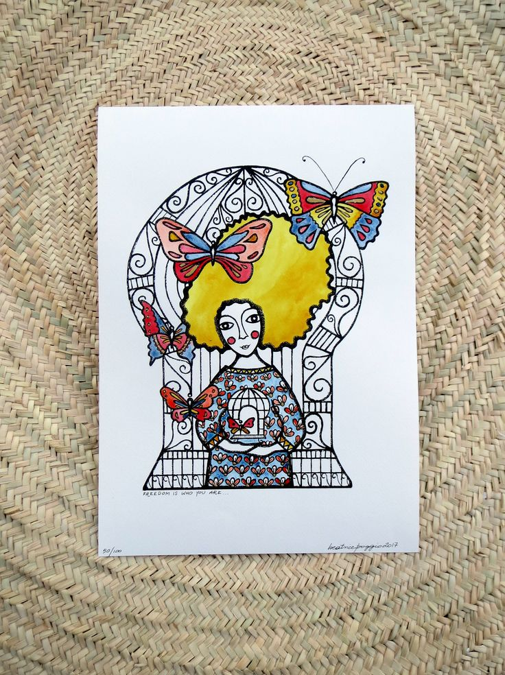 Art print on paper with watercolour, aked woman with butterflies and decorative cage, hand coloured, inspirational quote, boho stule by BeatricePoggioArt on Etsy