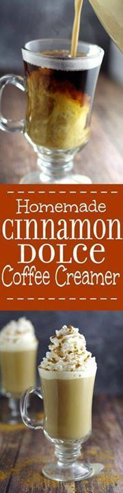 Homemade Cinnamon Do Homemade Cinnamon Dolce Coffee Creamer...  Homemade Cinnamon Do Homemade Cinnamon Dolce Coffee Creamer recipe is a sinful and decadent combination of caramel cream and cinnamon making your coffee amazing! Perfect! Cinnamon dolce is my absolute favorite latte at Starbucks! Recipe : http://ift.tt/1hGiZgA And @ItsNutella  http://ift.tt/2v8iUYW