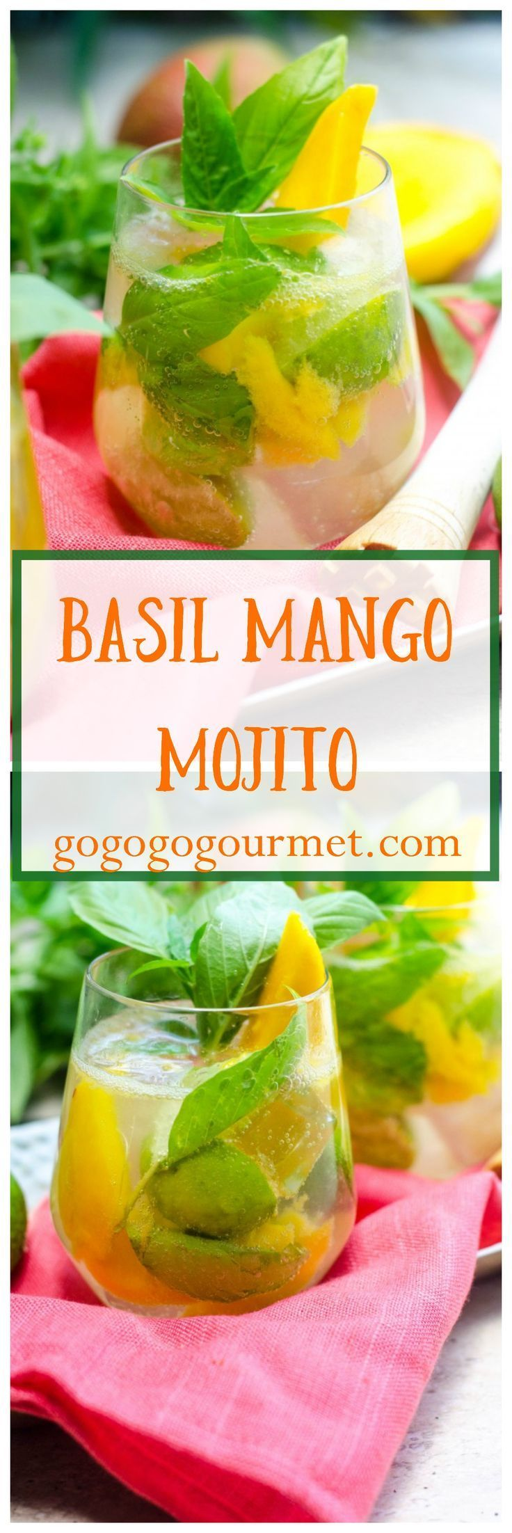 This classic gets a tropical twist thanks to sweet mango, and is a great way to use up some of that basil in your garden! Basil Mango Mojitos | Go Go Go Gourmet @gogogogourmet