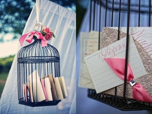 birdcage for cards I have a black bird cage we could put by the gift table to collect cards for the love birds?
