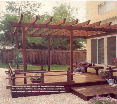 Japanese style deck railing home ideas pinterest for Japanese style gazebo plans
