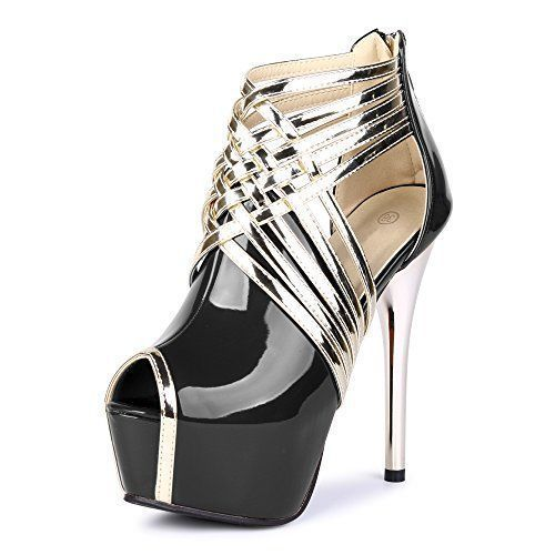 """Fereshte Womens Sexy Fashion Peep-toe Stripe Sandals Super High Heels PU Black EU Size 39 - US B(M) 8... Elegant ol pumps with great material is necessary for any occasion.Platform Height: 5cm/0.72""""Made of Superior material, Special Sexy design, but also comfy.Occasion: Casual/Formal, Party, Office, Wedding, Club, Prom etc.We're glad to help you for any problems, so please contact us......http://bit.ly/2r6Ou8B #blackhighheelsformal #sandalsheelswedding"""