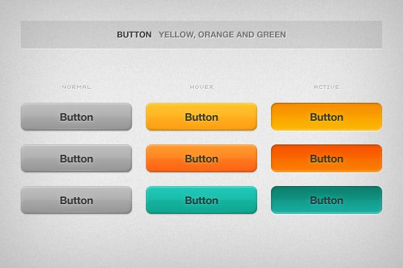 Check out Shiny and Colorful Buttons by Riccardo Anelli on Creative Market ::: Made with @adobe Photoshop ::: #website #websites #webdesign #web #design #ui #userinterface #ux #userexperience #shiny #colorful #button #pagination #professional #elegant #clean #yellow #orange #green #normal #hover #active #upload #download #login #addtocart #previous #next #number