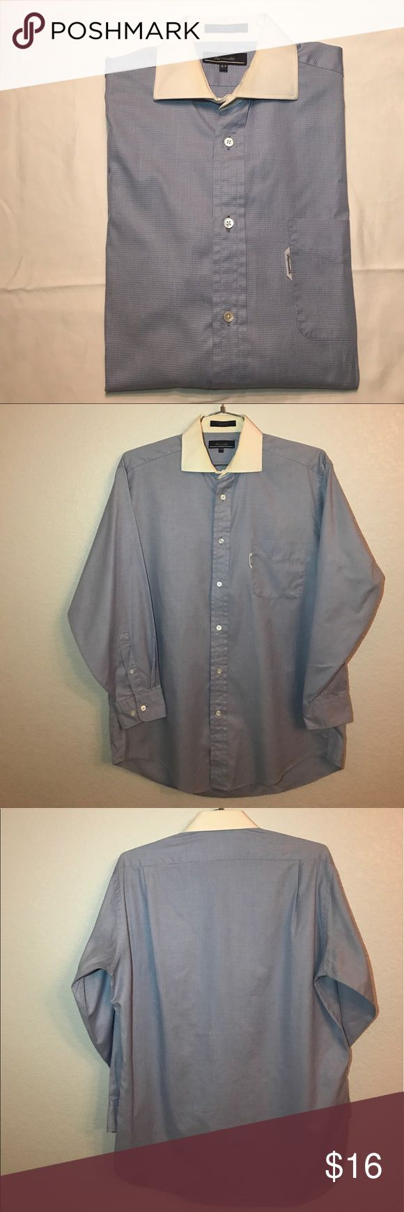 """Faconnable White Collar Blue Button Down Shirt Pre owned in good condition. Slight discoloration on Collar, but other than that, this shirt is excellent shape. Measurements: Chest= 24"""" Length= 31.25"""" Arm= 22.75"""".                                                😃Open to reasonable offers Faconnable Shirts Dress Shirts"""