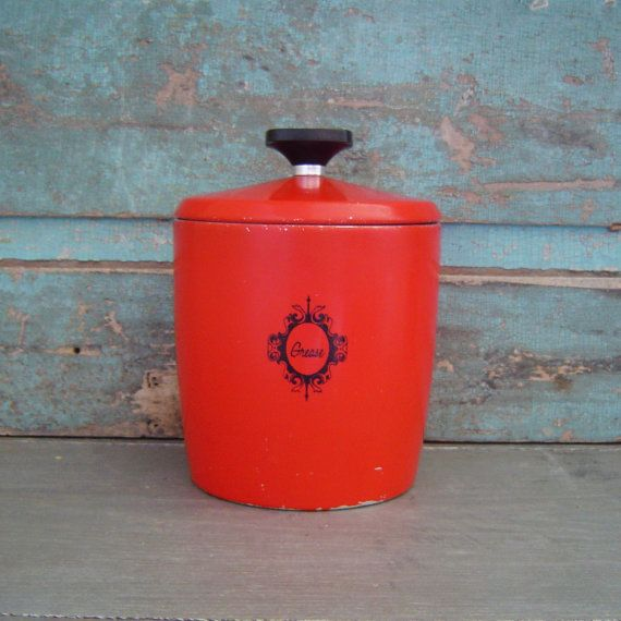 Red Grease Can Canister Metal Jar Vintage By