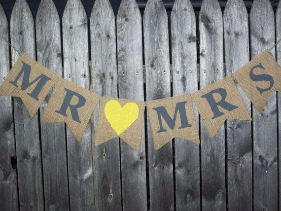 YELLOW and Charcoal GRAY Rustic Burlap Mr and by BurlapElegance, $20.00