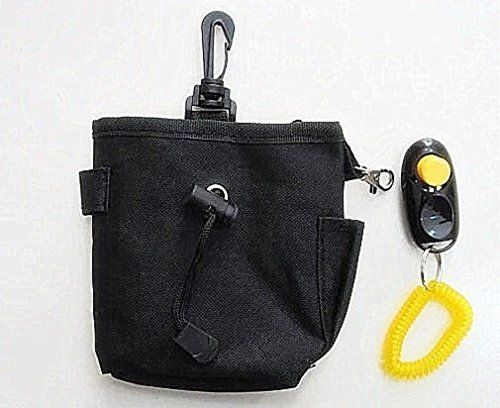 Pet Dog Treat Pouch Bag WITH CLICKER Best Reward Training Treat Storage and Delivery (BLACK) Bait Bag INCLUDES Clicker For Puppy Top Dog Marker Reward Based Positive Reinforcement Training supplies