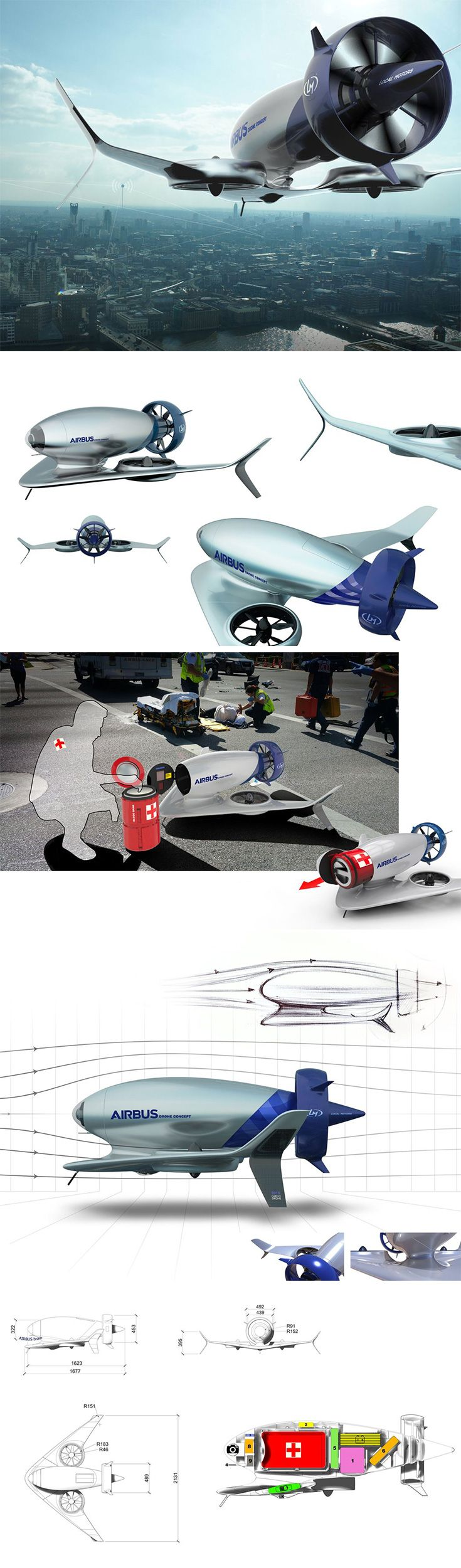 Taking inspiration from Airbus' existing family of cutting-edge aircraft, the Airbus A-180 Drone is less concerned with moving people and more about helping them during emergencies. Able to take off and land vertically or horizontally, it can safely enter danger zones. Upon arrival, it releases a cargo capsule capable of transporting everything from medicine and antivenin to supplemental blood and even organs.