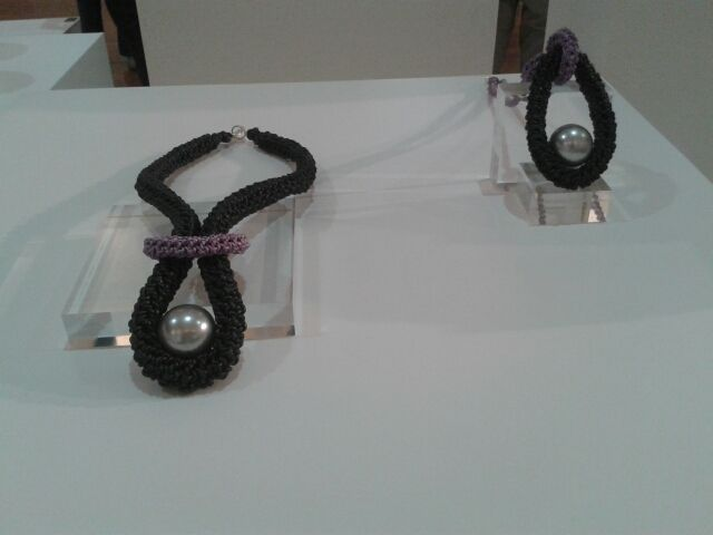 Leather Crochet Necklace designs on display at Ireland's National Crafts Awards Exhibition