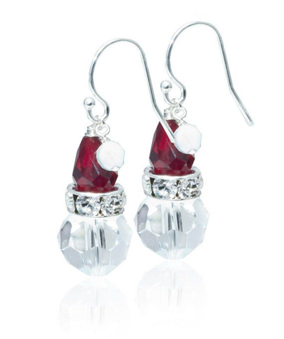 Swarovski Crystal Santa Earrings