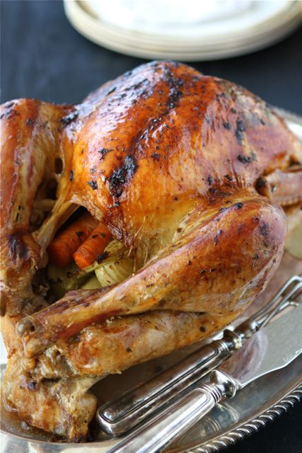Roasted Turkey With Herb Butter & Roasted Shallots Recipe — Dishmaps