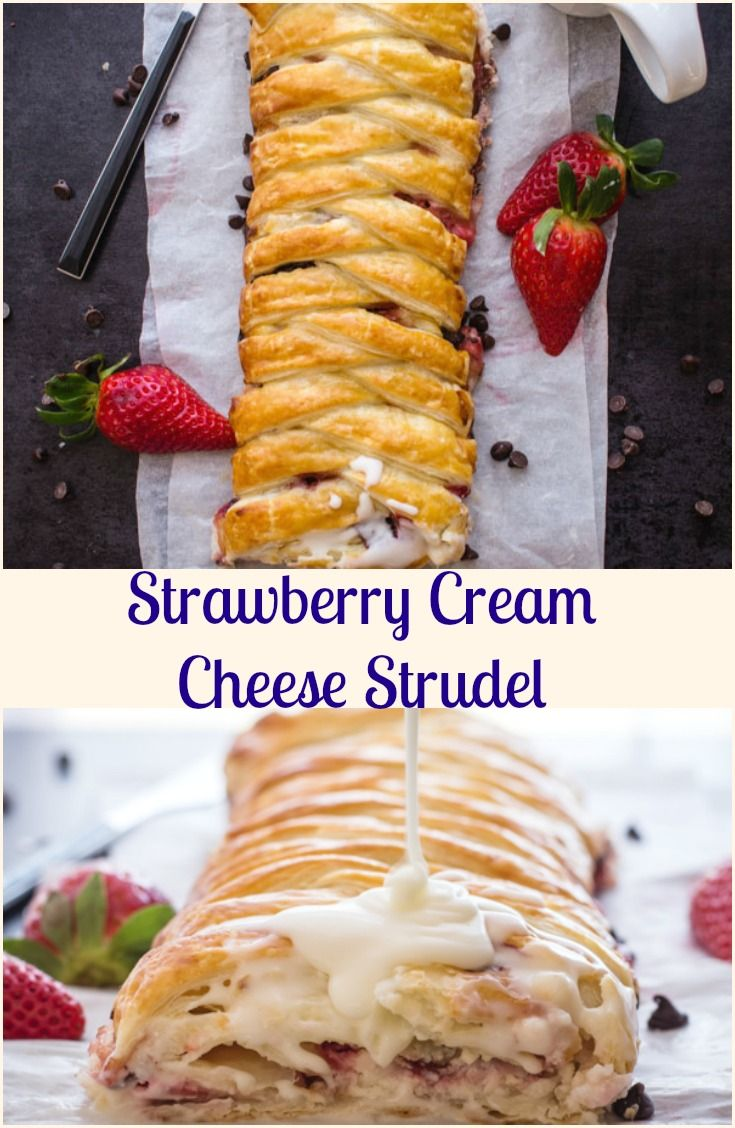 Strawberry Cream Cheese Strudel recipe is a fast, easy & simple dessert, fresh strawberries & cream cheese filling ready in 30 minutes. via @https://it.pinterest.com/Italianinkitchn/