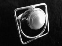 Anillo de plata vanguardia círculo