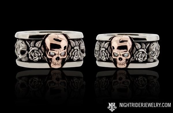 "NightRider Jewelry Custom ""Roses"" Skull Rings with Rose Gold 