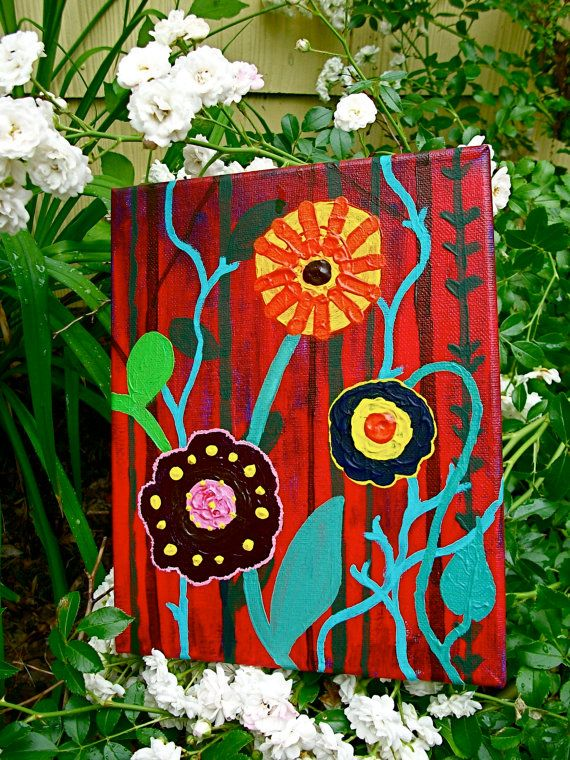 """Retro Flowers, 2014 acrylic on canvas 8"""" x 10"""" © copyright Mike Kraus To purchase, please visit: https://www.etsy.com/listing/195164903/retro-flowers-original-acrylic-painting  SUMMER HAS ARRIVED!  The flowers are in full bloom under the sultry heat of the sun.  We've been waiting for this since winter and it's finally here.  The fragrance fills the air with a sweetness that attracts honeybees and hummingbirds.  Brilliant colors so intense that it is all I can see."""