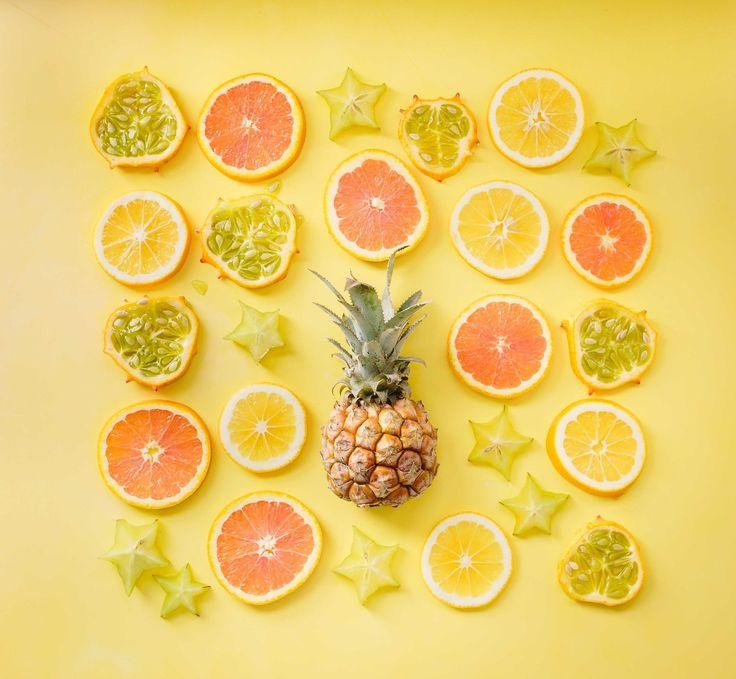 fruta, mosaico, piña, pomelos, limones, 1708210801