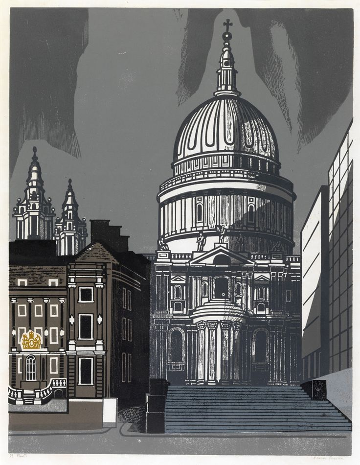 """St Pauls"" by Edward Bawden, part of the Nine London Monuments series of linocuts commissioned by Editions Alecto in 1966"