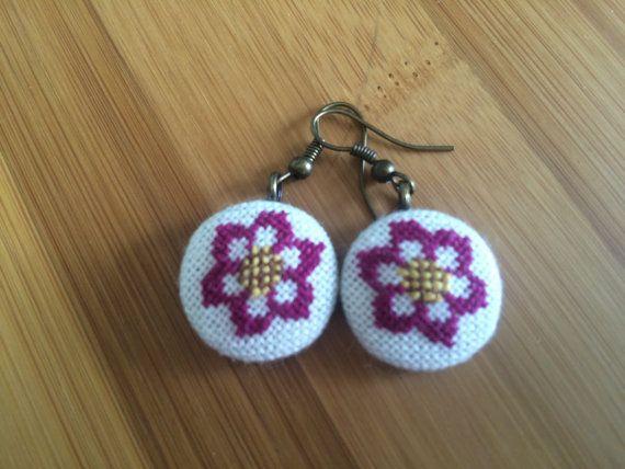 Cross stitch earrings Echinacea Flowers by BlackCatHandmadeShop
