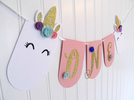 Unicorn Banner - High Chair Banner - Unicorn First Birthday - Unicorn Party - Unicorn Decorations - Unicorn Theme Party - Pink and Gold