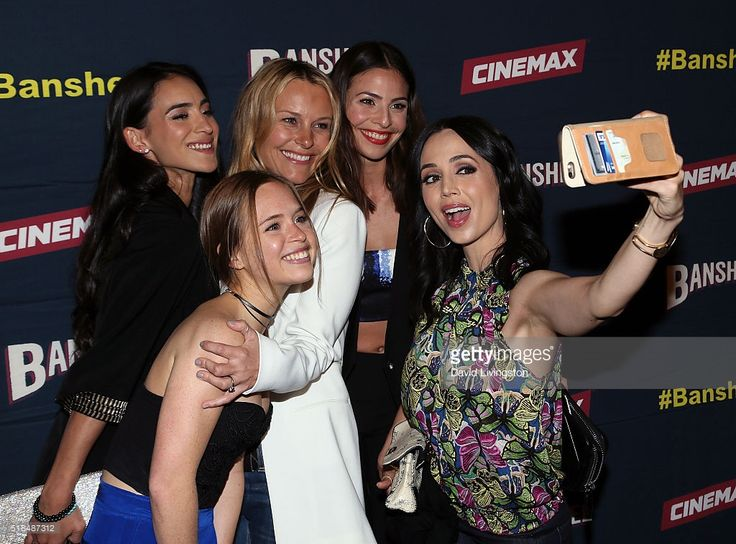 Actresses Cherie Jimenez, Ryann Shane, Tanya Clarke, Ana Ayora and Eliza Dushku pose for a selfie at the premiere of Cinemax's 'Banshee' 4th Season at UTA on March 31, 2016 in Beverly Hills, California.