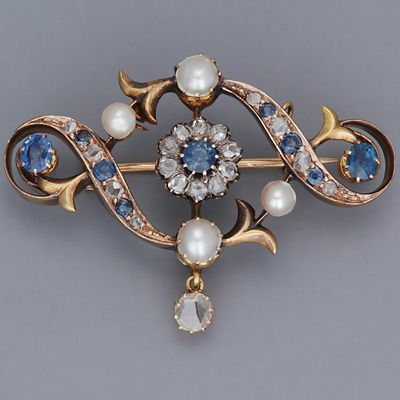 Sapphire, diamond, pearl and gold #brooch. #GoldBrooches