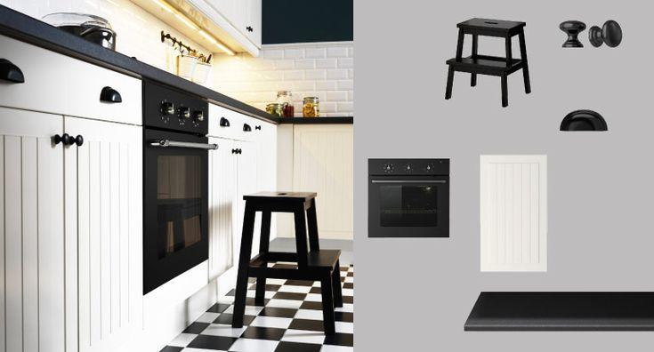 FAKTUM kitchen with STÅT off-white doors/drawers and PRÄGEL black stone effect and FÅGLEBODA black handles