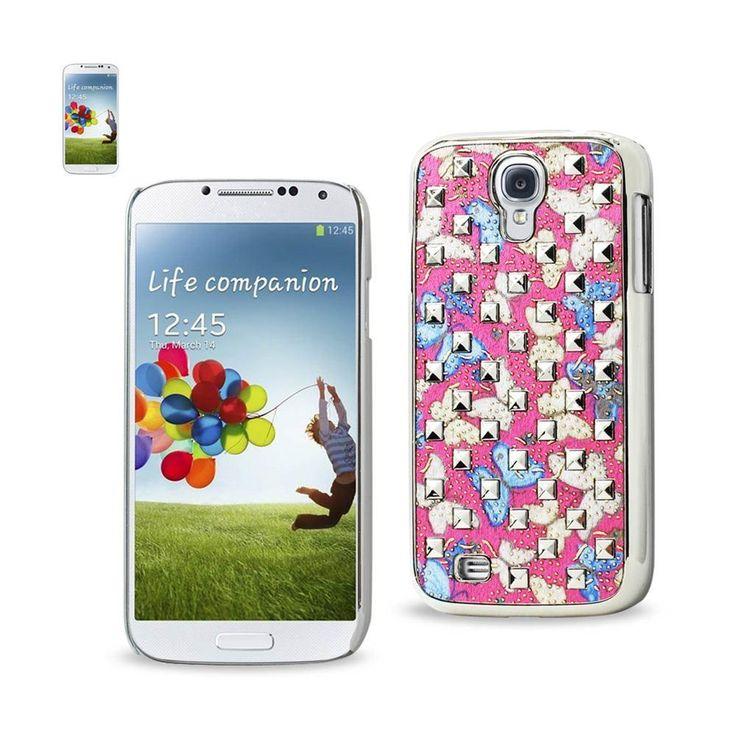 Reiko Plating Rivets Cover Butterflies Pattern Samsung Galaxy S4 Blue