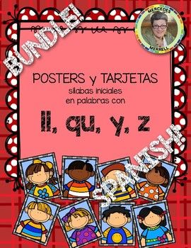 POSTERS y TARJETAS de sílabas iniciales en palabras con ll, qu, y, z en ESPAÑOL {These have fewer picture/word cards than most of my previous sets, so I am only offering them as a set or bundle. Now, I have completed the initial syllables of all the Spanish letters!}