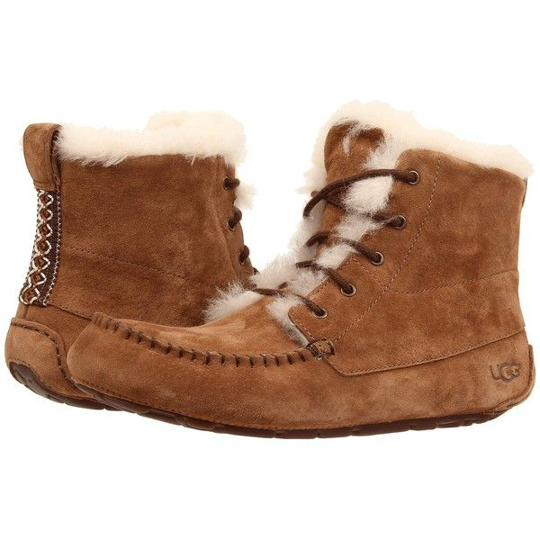 UGG Chickaree Women's Lace-up Boots ($135) ❤ liked on Polyvore featuring shoes, boots, lace up shoes, lace up moccasins, mocassin boots, moccassin boots and lace up boots
