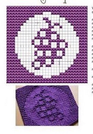 Grape Knit Dish cloths Pattern