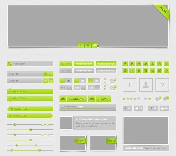Freebie: Shiny Green Web UI Kit