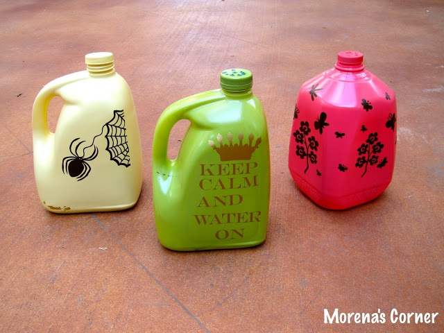 Upcycle your laundry soap containers, gallon jugs, or other containers with screw on lids to make a Watering Pail for your flowers / garden.