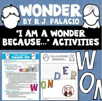 This FREE Wonder reading activity goes along with the novel and is perfect for your 4th, 5th, 6th, and home school students. Use for your English language arts, reading, or writing lesson. This extension printable activity will get your students thinking for themselves about why they are a wonder, and it comes with a page of teacher tips and strategies. Use for individual work, centers or stations, morning work, or early and fast finishers. {fourth, fifth, sixth graders, ELA, freebie}