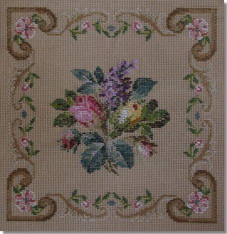 Beverley Trammed Tapestry:  Pink rosebud spray with border