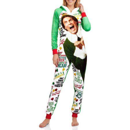 Elf Women's Licensed Pajama Union Suit One Piece Sleepwear, Size: XS, White