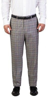 Prada Men's Virgin Wool Plaid Trouser Pants Beige Multi-colored.